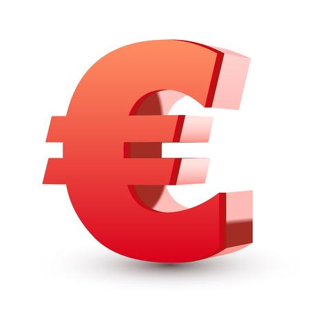 exchange profit: red euro symbol isolated white background Illustration