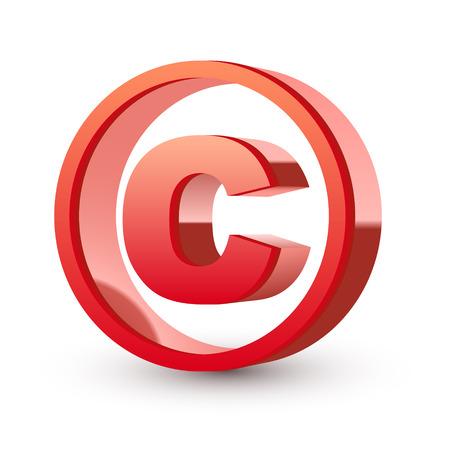 빨간색 광택 저작권 기호 격리 된 흰색 배경