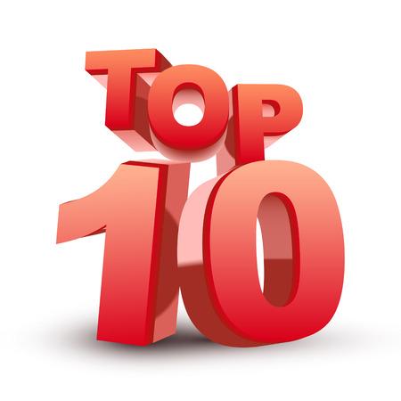numero diez: Top ten palabra rojo aislado fondo blanco