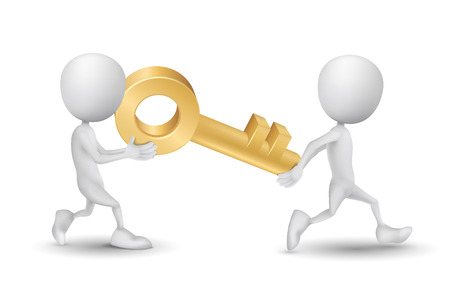 two people carried a golden key Vector
