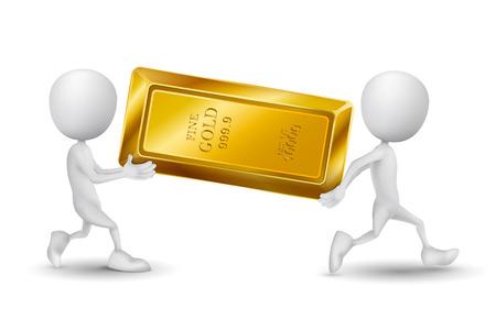 lingotes de oro: dos personas llevan una barra de oro