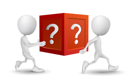 person thinking: two people carried the question box