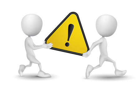 prevencion de accidentes: dos personas llevan una se�al de advertencia