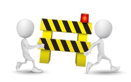 blocco stradale: due persone che portavano un posto di blocco Vettoriali