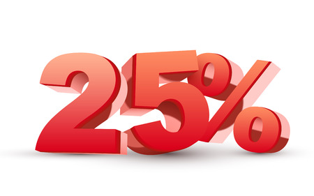 percentage sign: 3d shiny red discount collection - 25 percent isolated white