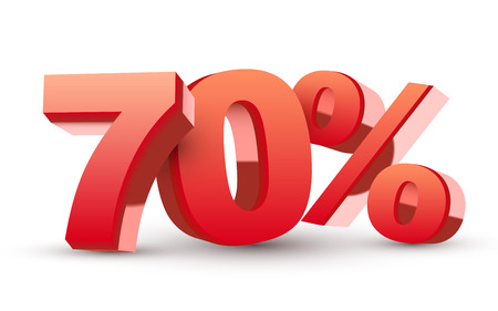 70: 3d shiny red discount collection - 70 percent isolated white background