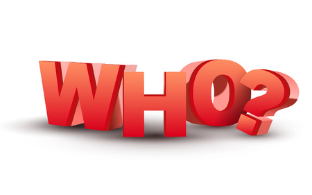 The word Who in red 3D letters isolated white