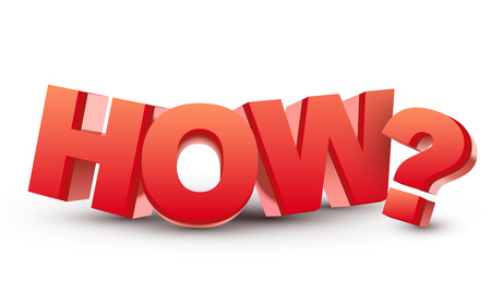 The word How and question mark in 3d red letters isolated white