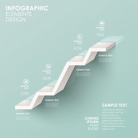 モダンな抽象階段フローチャート インフォ グラフィックの要素  イラスト・ベクター素材