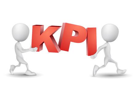 """duas pessoas: duas pessoas carregava uma palavra """"KPI"""" (Key Performance Indicator) Ilustração"""