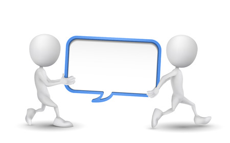 carried: two people carried a blank speech bubble Illustration