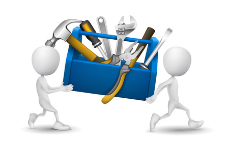 toolbox: two people carried a toolbox with tools Illustration