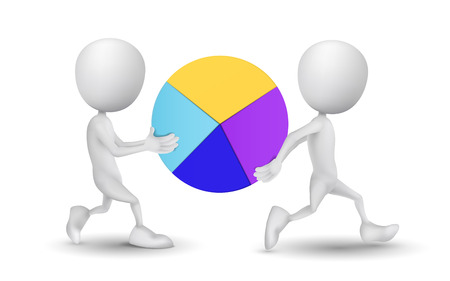 two people carried the pie chart Vector