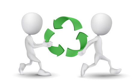 two people carried the recycling symbol Vector