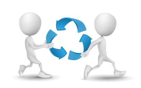 carried: two people carried the recycling symbol