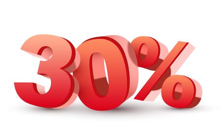 3d glänzenden roten Rabatt-Sammlung - 30 Prozent isolierten weißen Standard-Bild - 25160549