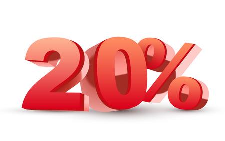 3d 반짝이 빨간 할인 컬렉션 -20 % 격리 된 흰색