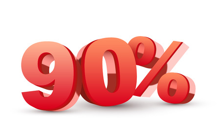 90: 3d shiny red discount collection - 90 percent isolated white
