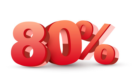 percentage sign: 3d shiny red discount collection - 80 percent isolated white