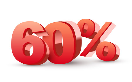 20: 3d shiny red discount collection - 60 percent isolated white  Illustration