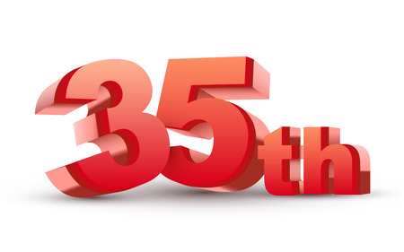 35th: 3d anniversary, 35th, isolated on white