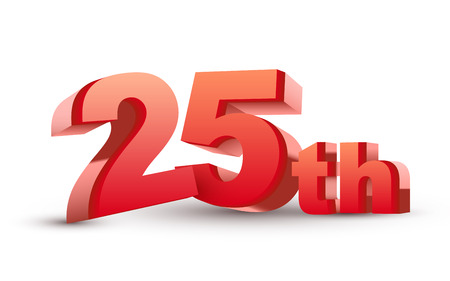 25th: 3d anniversary, 25th, isolated on white