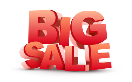 3D big sale  isolated white  Vector