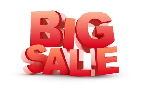 sales floor: 3D big sale  isolated white  Illustration