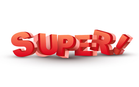 offer icon: 3D super word isolated white Illustration
