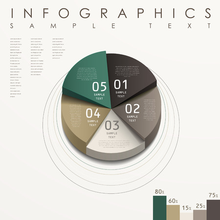 pie chart: modern abstract 3d pie chart infographic elements
