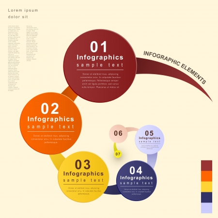 flat style abstract flow chart infographic elements