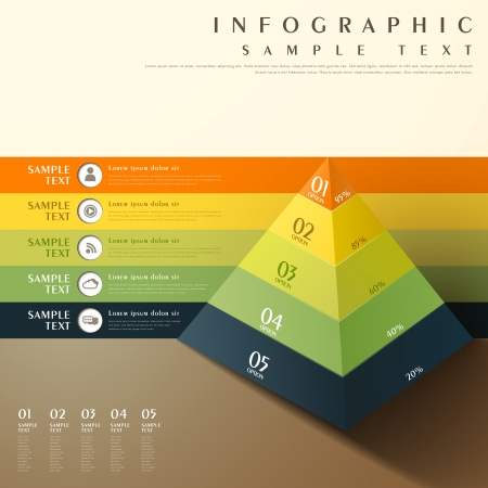 flat style abstract 3d pyramid chart infographic elements Illustration