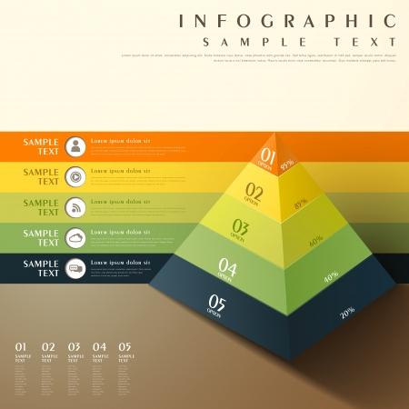 vlakke stijl abstract 3d piramide grafiek infographic elementen Stock Illustratie
