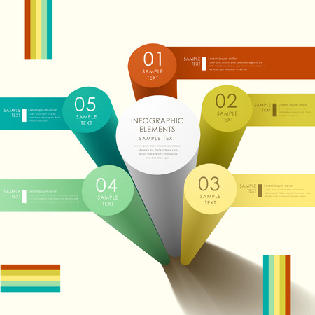 modern abstract 3d cylinder infographic elements Vector