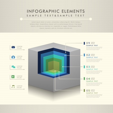 sectional: modern abstract cross-sectional view infographic elements Illustration