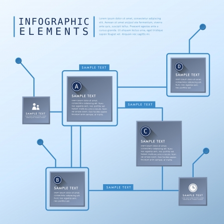 flat design abstract flow chart infographic elements