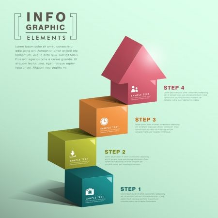 modern abstract cube stair with house infographic elements