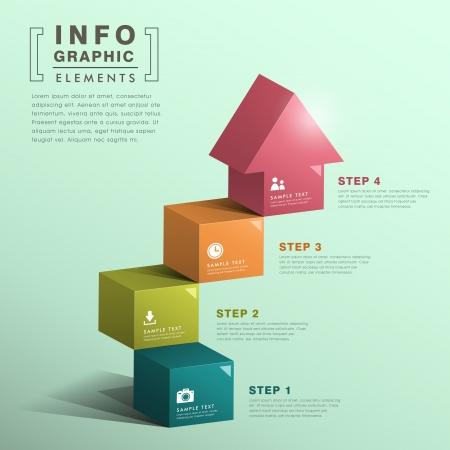 cubo: moderna escalera cubo abstracto con las casas los elementos infográficos