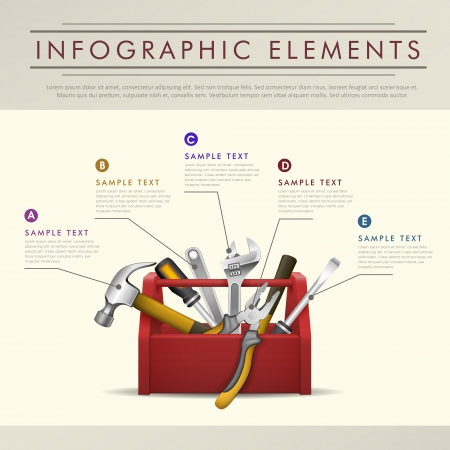 realistic modern vector abstract toolbox theme infographic elements