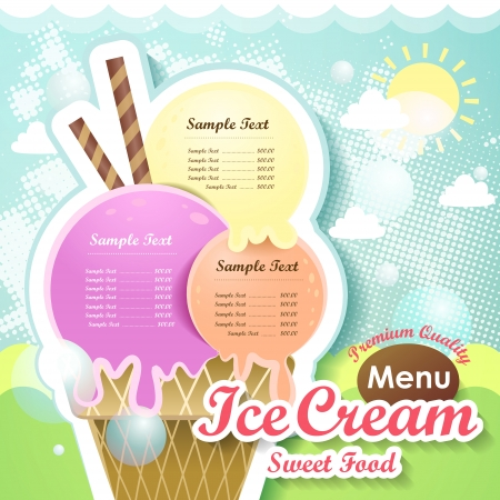 ice cream: restaurant ice cream menu cover vector design template