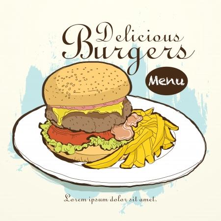 vector fast food restaurant menu brochure cover design template Vector