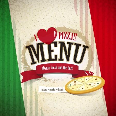 pizzeria label design: vector pizzeria menu brochure cover design template