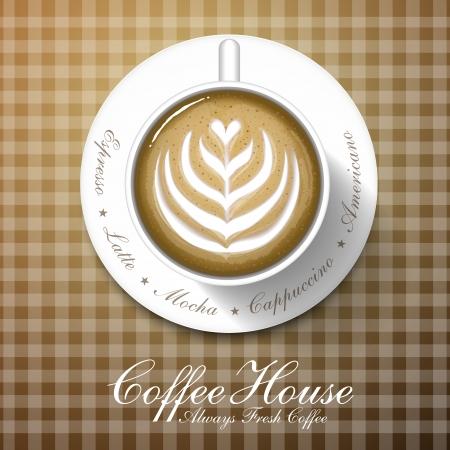 cafe latte: Coffee shop menu brochure cover design template Illustration