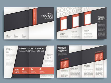 Template van brochure ontwerp met gespreide pagina's