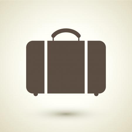 luggage: retro style luggage icon isolated on brown background