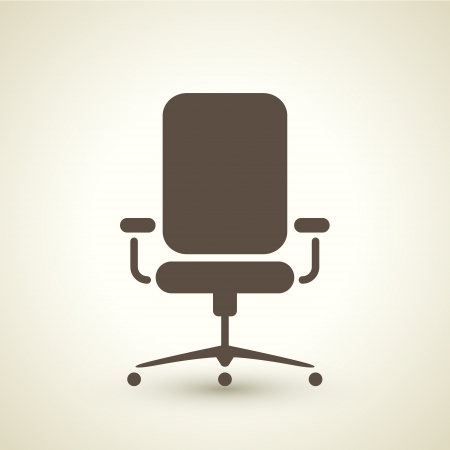 office: retro style office chair icon isolated on brown background Illustration