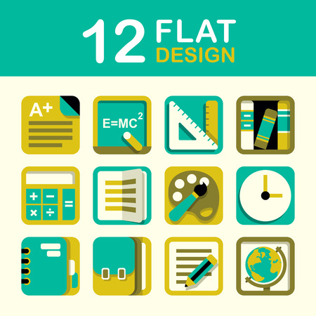 ui design: vector education icon set flat style design