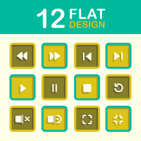 media player: vector media player icon set flat style design