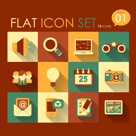 vector communication   internet icon set flat design Vector