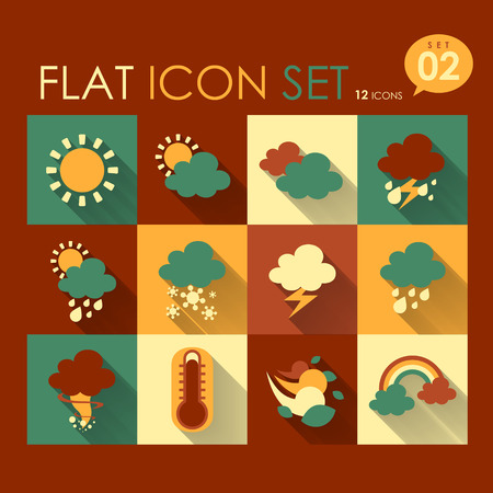 rainstorm: vector weather icon set flat style design Illustration